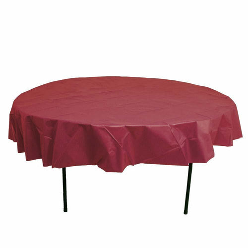 Table Mate Solids Berry Round Plastic Tablecover 84""