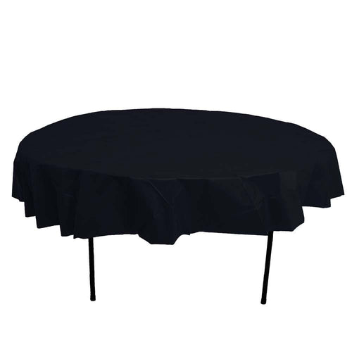 Table Mate Solids Black Round Plastic Tablecover 84""