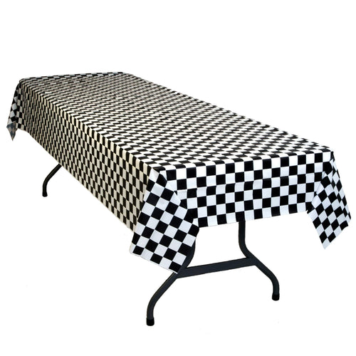 "Table Mate Solids Black & White Checkered Plastic Table Cover 54""X 108"""