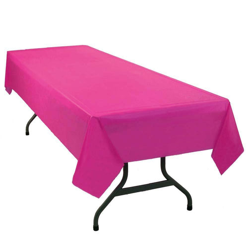 "Table Mate Solids Bright Pink Plastic Table Cover 54""X 108"""