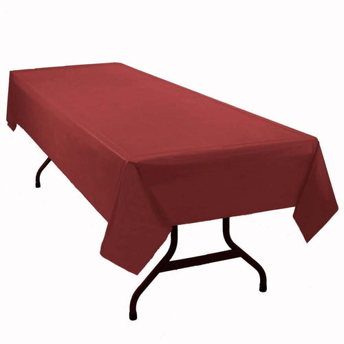 "Table Mate Solids Burgundy Plastic Table Cover 54""X 108"""