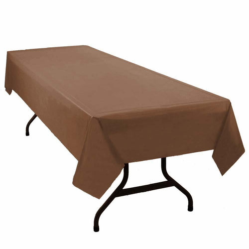 "Table Mate Solids Chocolate Brown Plastic Table Cover 54""X 108"""