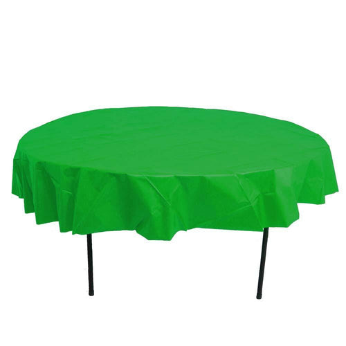 Table Mate Solids Festive Green Round Plastic Tablecover 84""