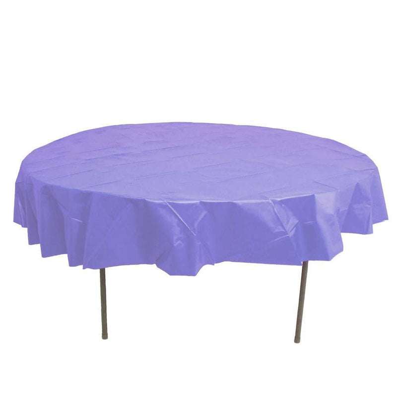 Table Mate Solids Lavender Round Plastic Tablecover 84""