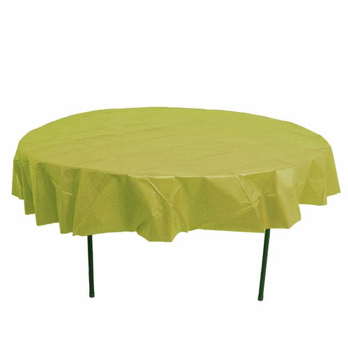 Table Mate Solids Metallic Gold Round Plastic Tablecover 84""