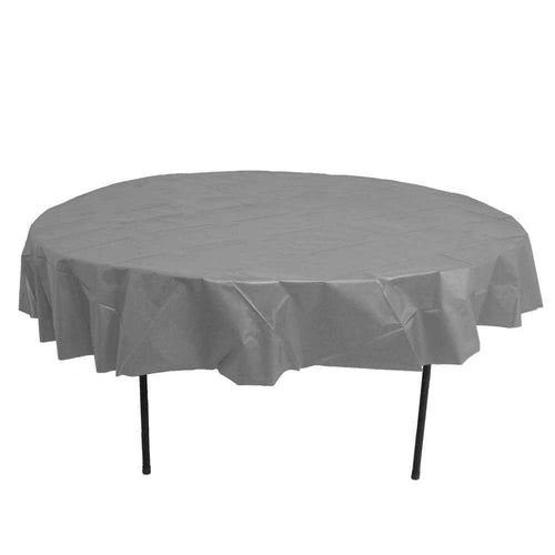 Table Mate Solids Silver Round Plastic Tablecover 84""