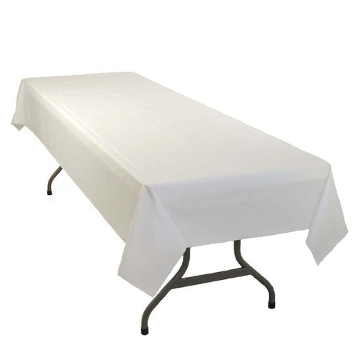 "Table Mate Solids White Plastic Table Cover 54""X 108"""