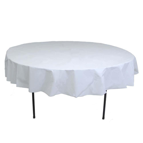Table Mate Solids White Round Plastic Table Cover 84""