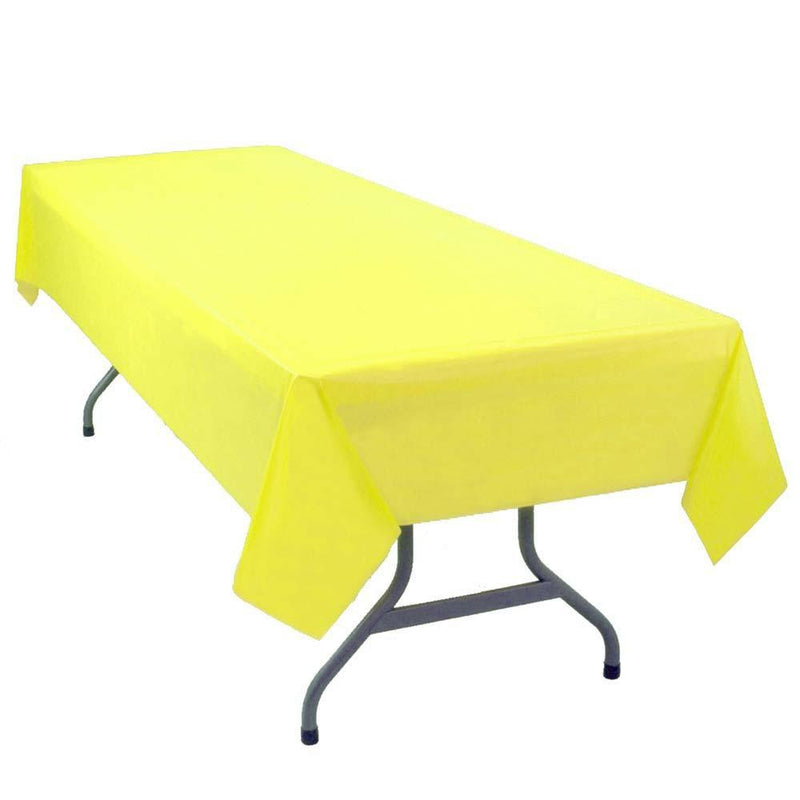 "Table Mate Solids Yellow Plastic Table Cover 54""X 108"""