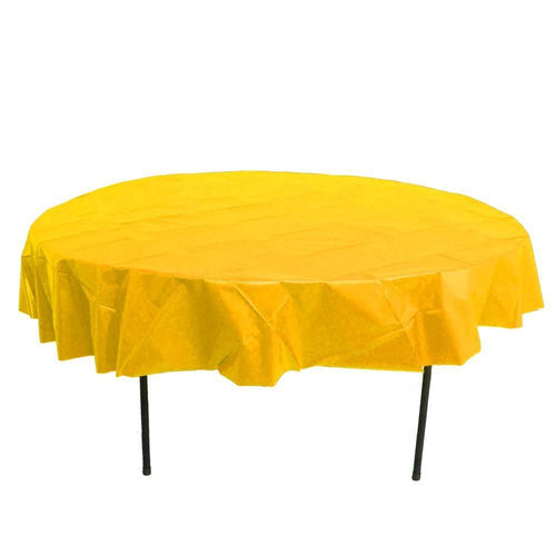 Table Mate Solids Yellow Round Plastic Table Cover 84""