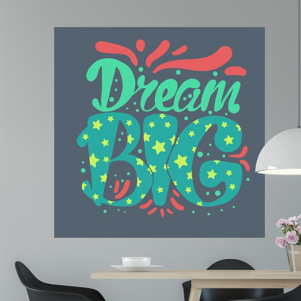 Lettering Motivation Dream Big Teenage Wall Mural