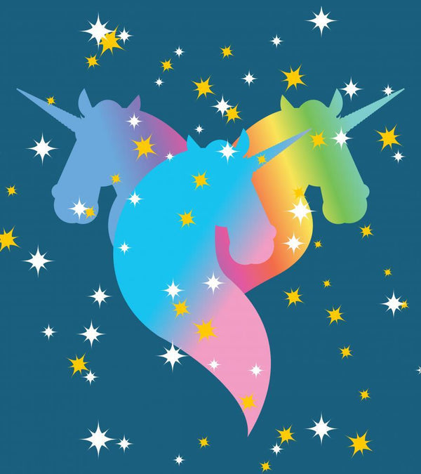 Rainbow Unicorn Starry Blue Teenage Wall Mural