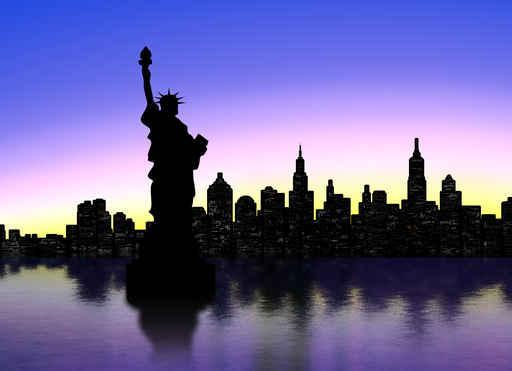 New York Silhouette City Skyline Wall Mural