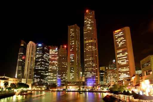 Singapore Night City Skyline Wall Mural