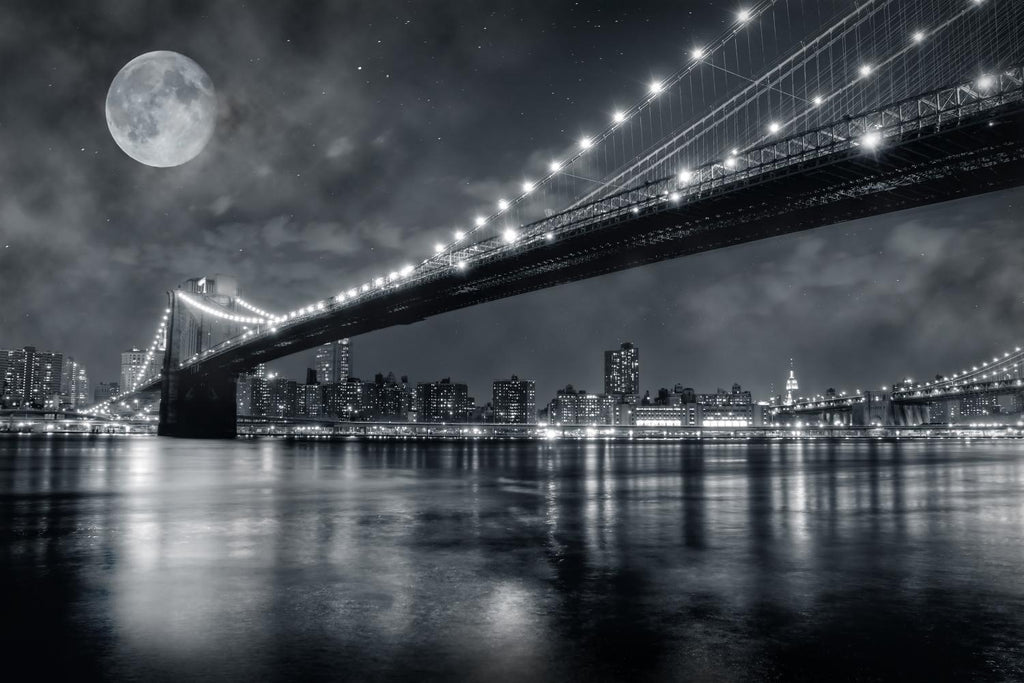 Brooklyn Bridge City Skyline Wall Mural - City-Skyline-Wall-Murals - Decall.ca