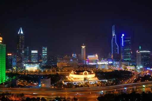 Shanghai People Square and City Skyline Wall Mural