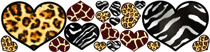 African Animal Patterned Hearts Girls Wall Sticker