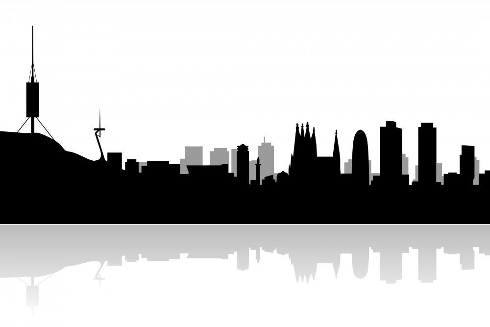 Barcelona Skyline City Skyline Wall Mural Sticker - City-Skyline-Wall-Stickers - Decall.ca