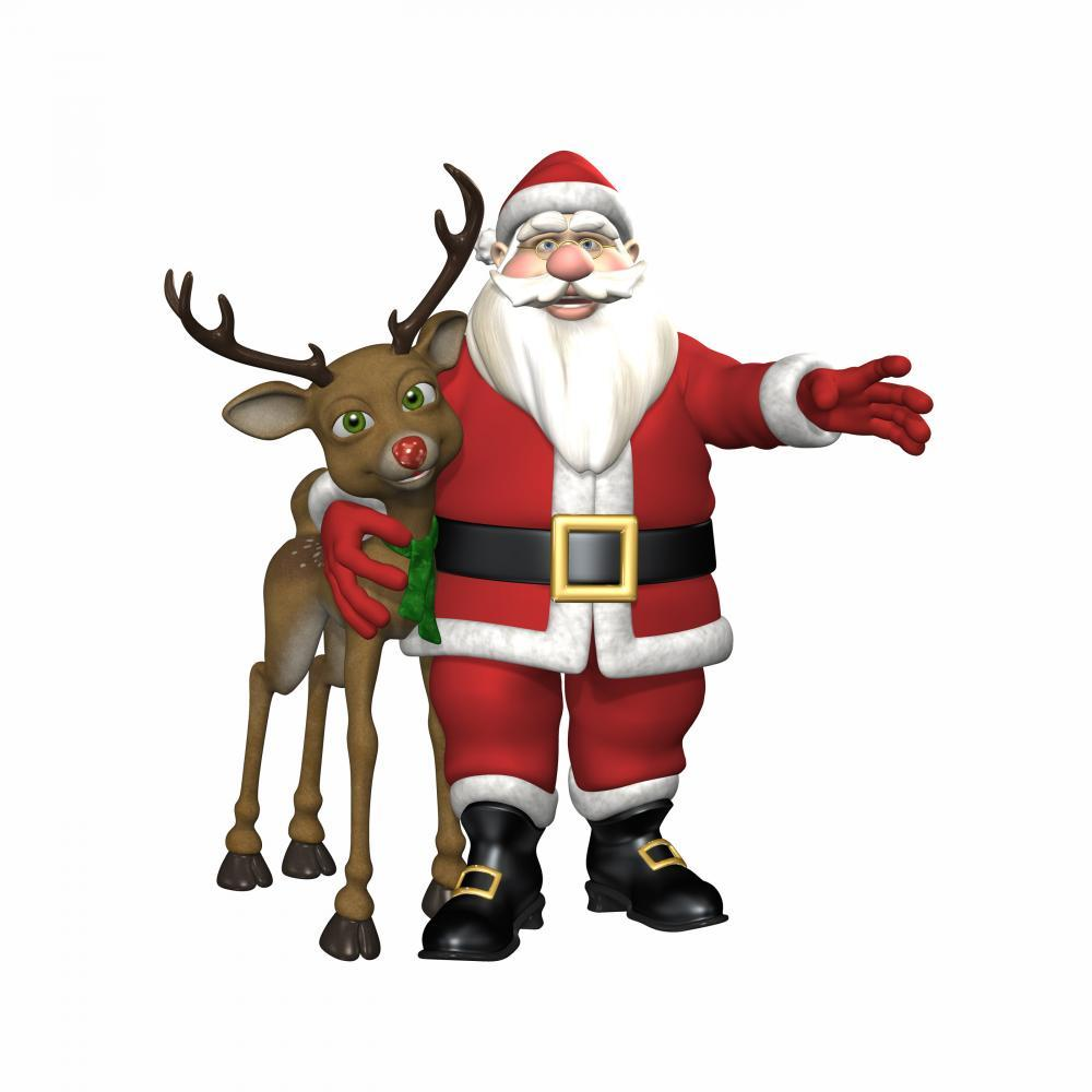 Santa Hugging Reindeer Holiday Wall Mural Sticker
