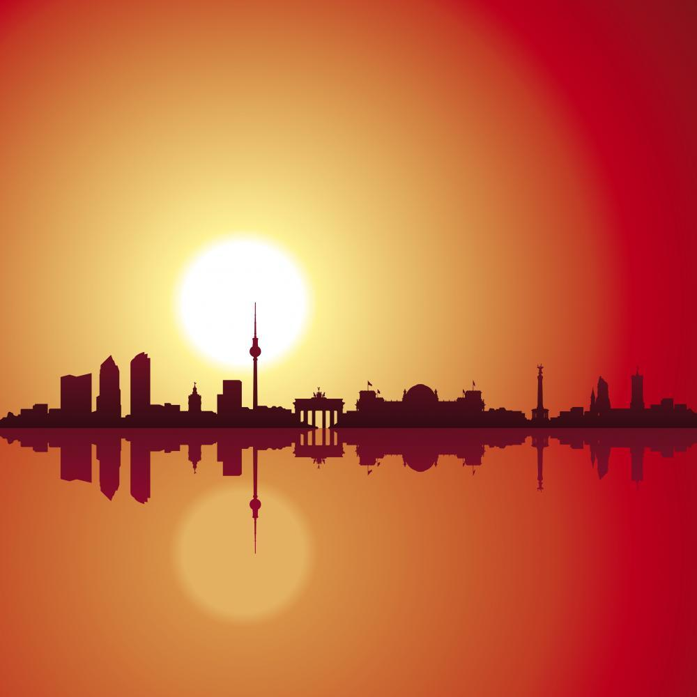 Berlin Skyline Sunset City Skyline Wall Mural - City-Skyline-Wall-Murals - Decall.ca