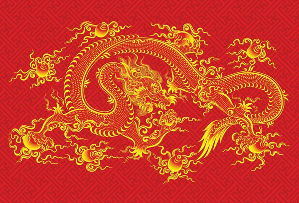 Red Chinese Dragon Vector Symbolic Wall Mural
