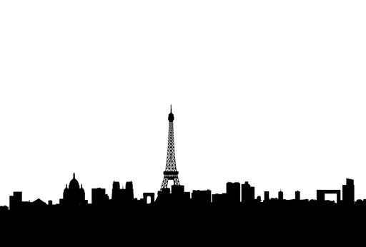 Paris Skyline Silhouette Blank City Skyline Wall Mural Sticker
