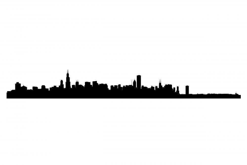Chicago City Skyline Silhouette City Skyline Wall Mural Sticker - City-Skyline-Wall-Stickers - Decall.ca