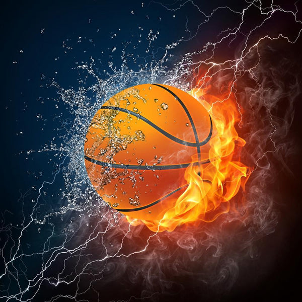 Fire and Ice Basketball Sports Wall Mural