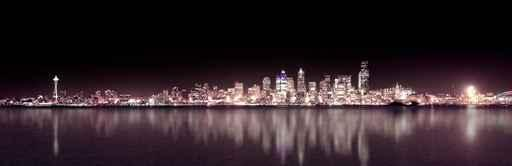 Seattle Purple Night Panoramic City Skyline Wall Mural