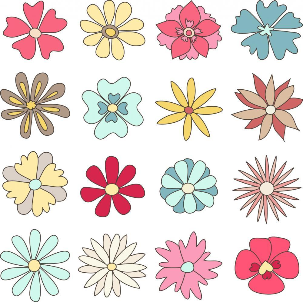 Collection Hand Drawn Flowers Flower Wall Mural Sticker - Flower-Wall-Stickers - Decall.ca