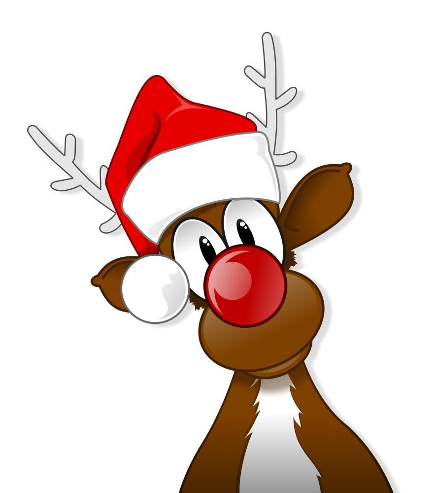 Rudolph Santa Hat Holiday Wall Mural Sticker