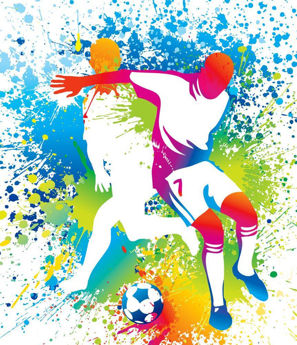 Football Players with Soccer Sports Wall Mural