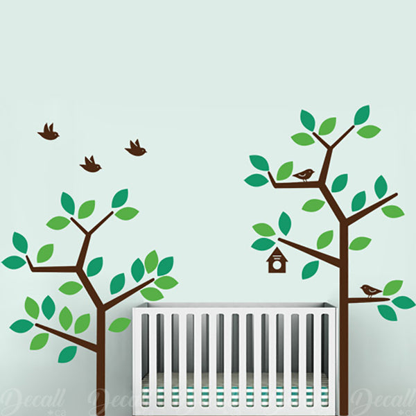 2 Green Garden Tree Wall Decals - Wall-Decals - Decall.ca
