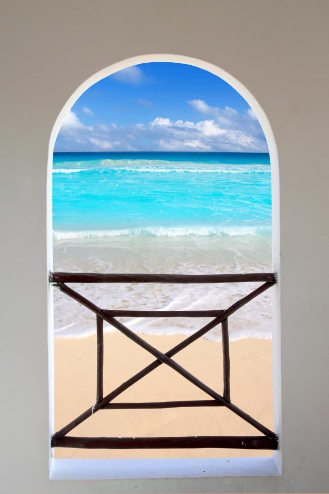 Arch Window Tropical Caribbean Window Scene Wall Mural Sticker