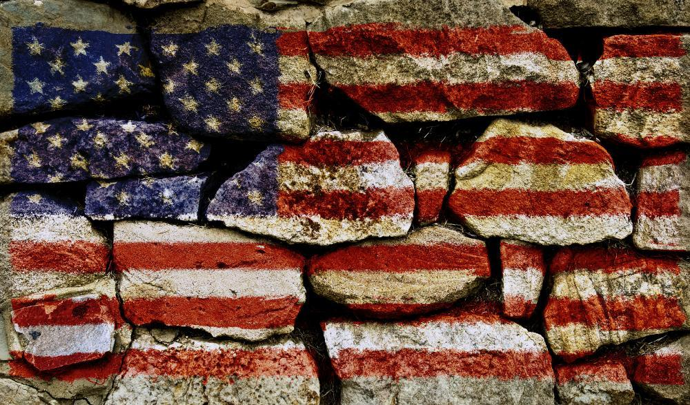 American Flag on Stone Wall Military Wall Mural