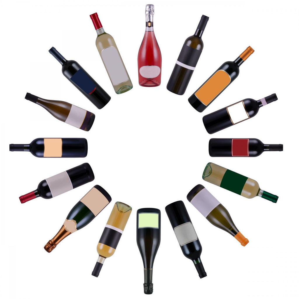 Wine Bottles Vortex over Food & Drink Wall Mural Sticker