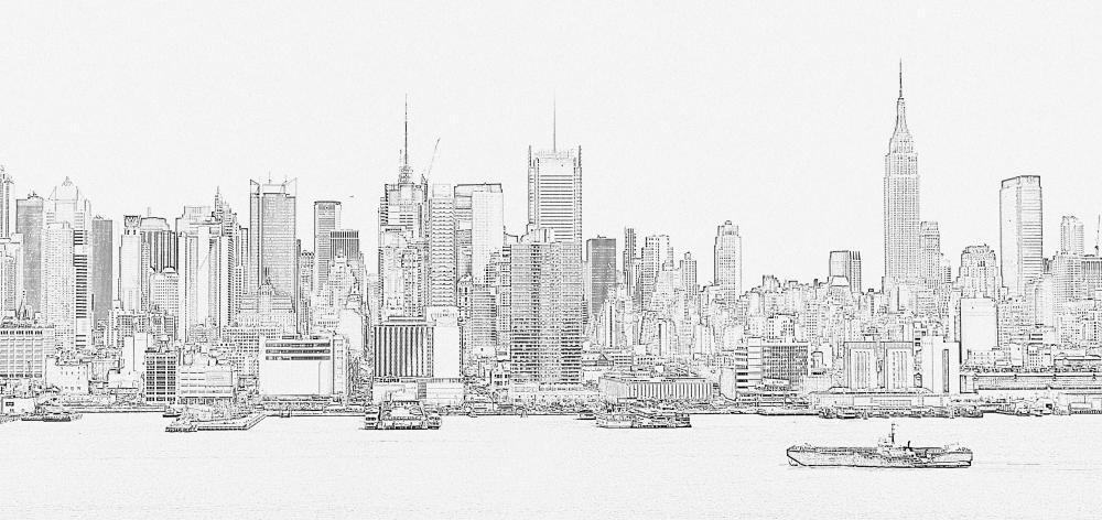 Manhattan Outline City Skyline Wall Mural