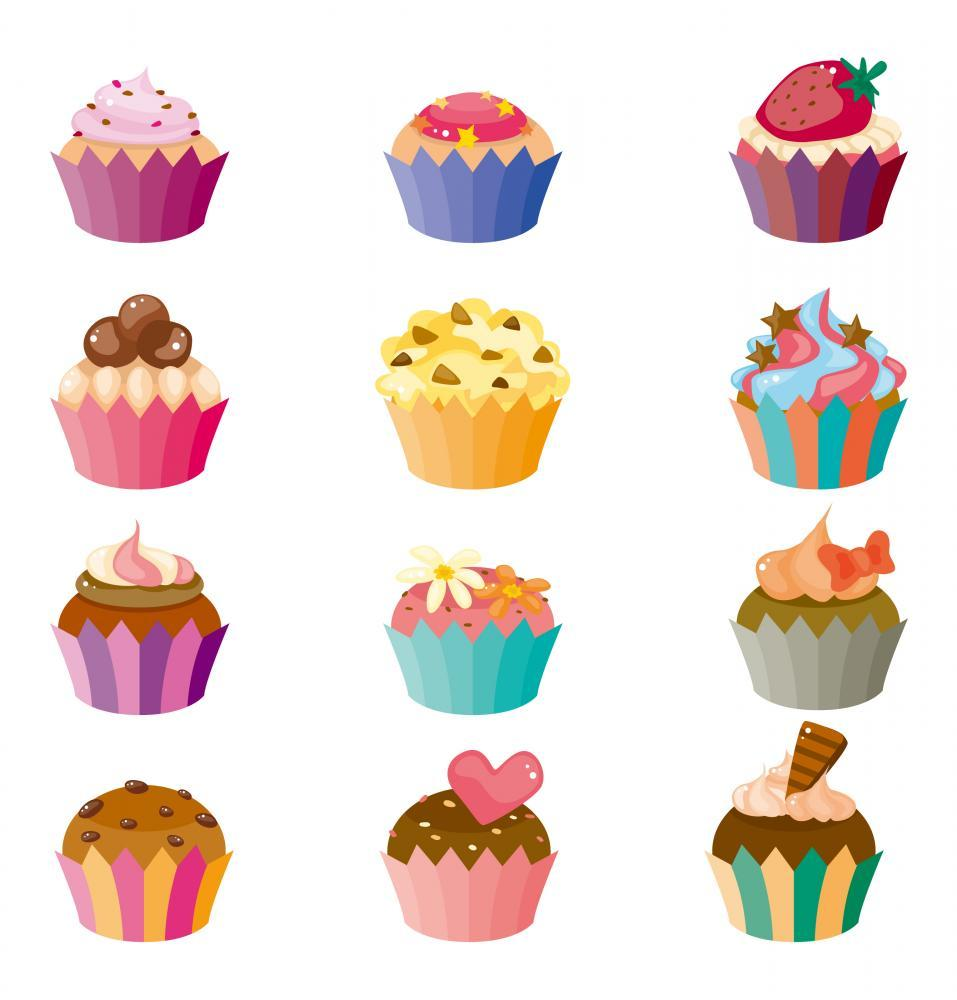 Girly Cartoon Cupcakes Food & Drink Wall Mural Sticker