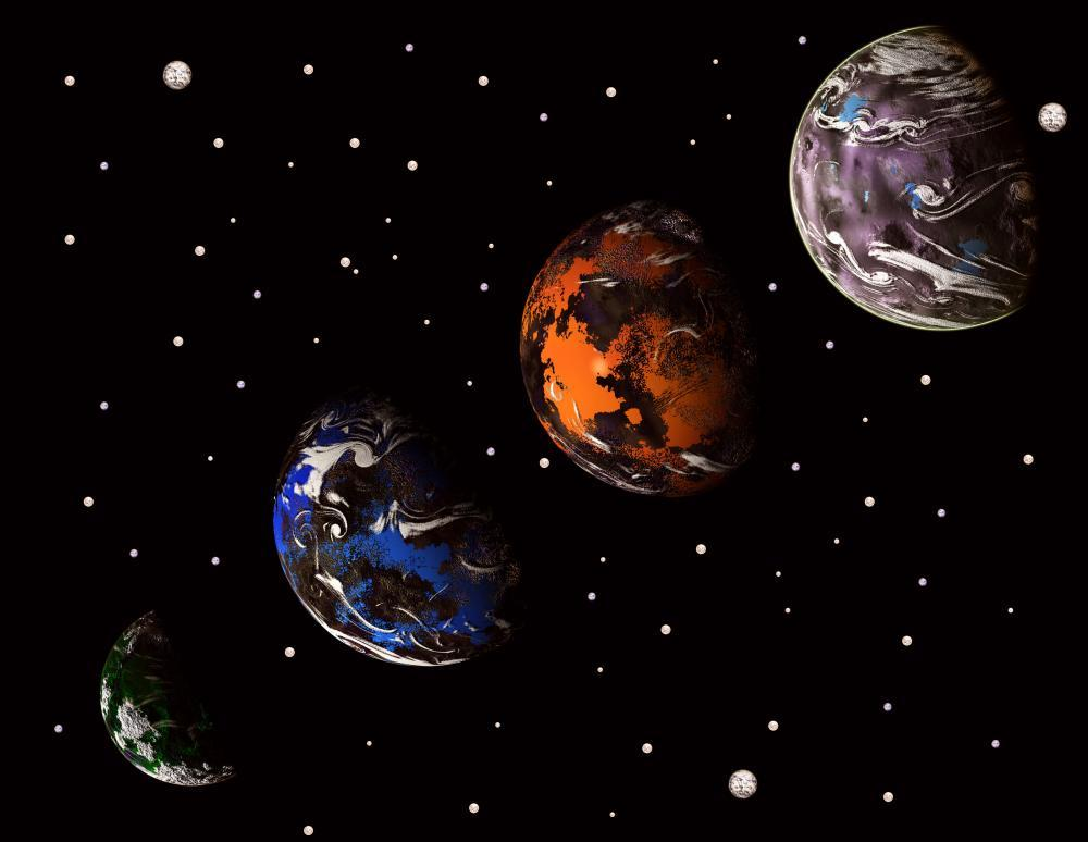 Alien Solar System Computer Space Wall Mural