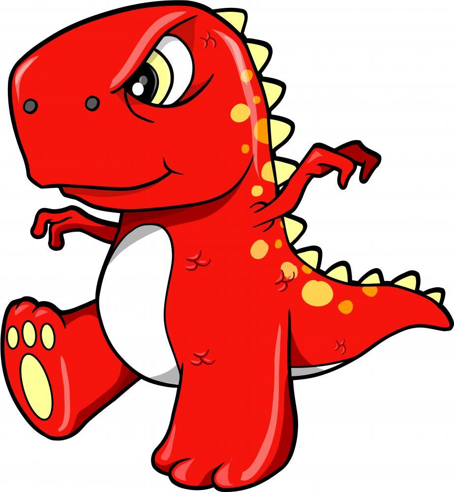 Angry Mean Red Dinosaur Boys Wall Sticker