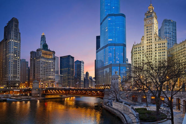 Chicago Riverside City Skyline Wall Mural - City-Skyline-Wall-Murals - Decall.ca