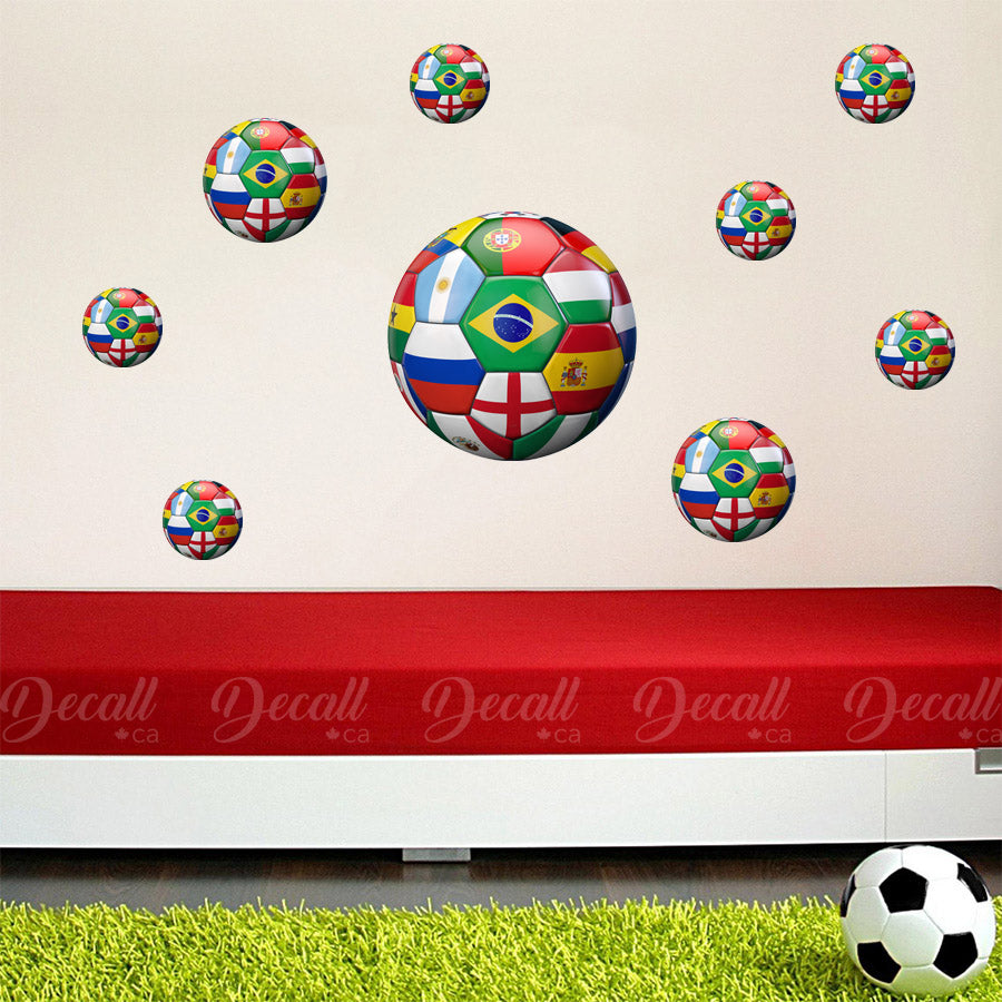3D World Soccer Ball Wall Stickers - Wall-Stickers - Decall.ca