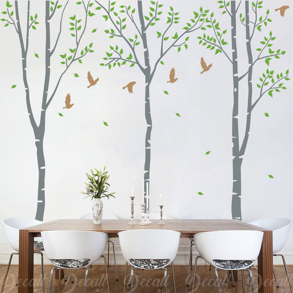 3 White Birch Tree Wall Decals - Wall-Decals - Decall.ca