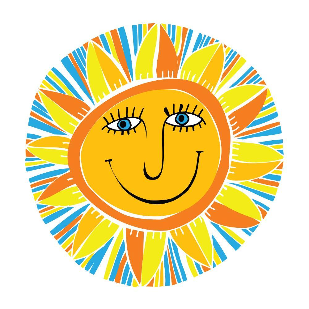 Abstract Smiling Sun Teenage Wall Sticker