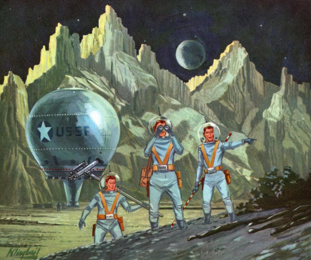 American Astronauts Exploring Planet Space Wall Mural