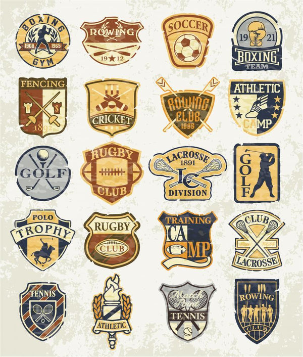 Classic Sports Old Badges Sports Wall Mural