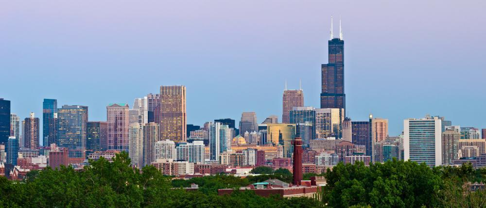 Chicago Skyline City Skyline Wall Mural Panoramic - City-Skyline-Wall-Murals - Decall.ca