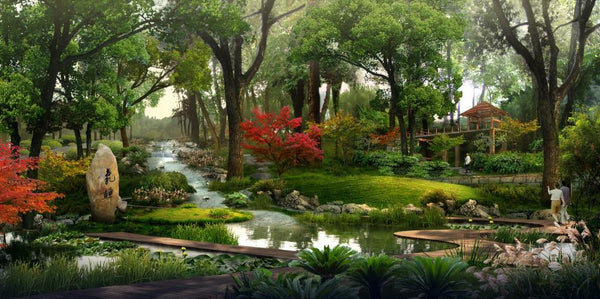 Chinese Park Landscape Wall Mural