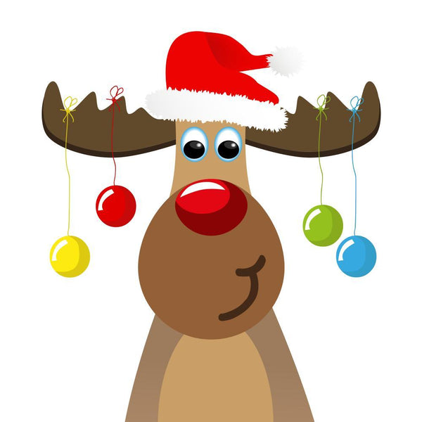 Cartoon Merry Reindeer Holiday Wall Sticker