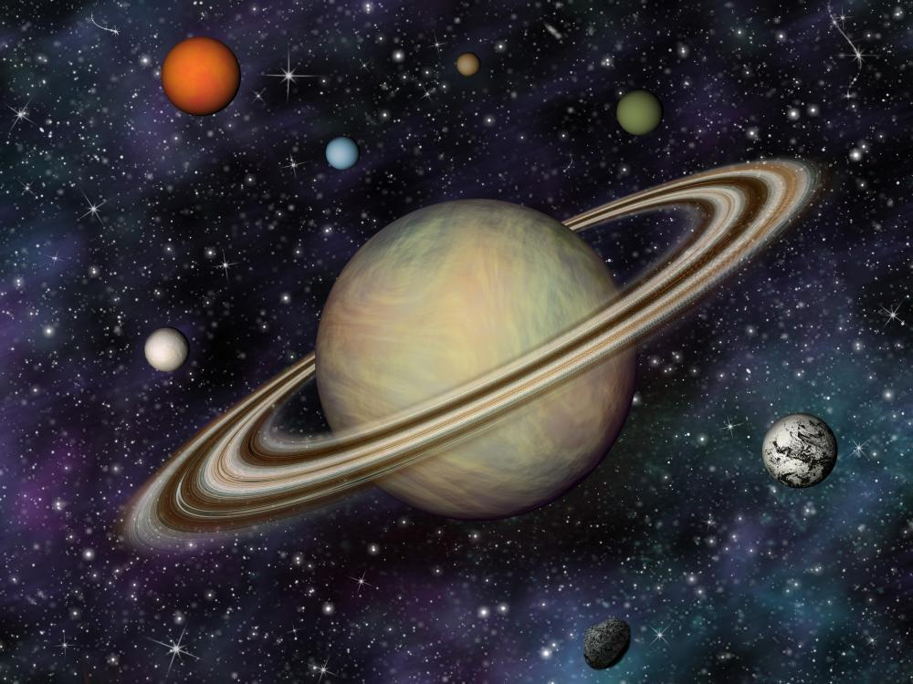 Solar System Saturn's Moons Space Wall Mural